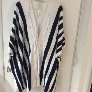 Chico's white and blue striped wrap